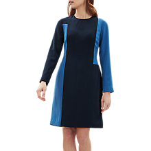 Buy Jaeger Colour Block Long Sleeve Dress, Dark Blue Online at johnlewis.com