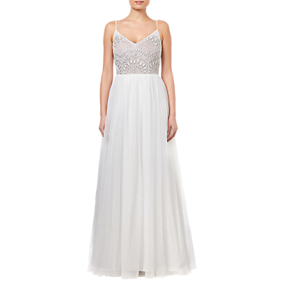 Adrianna Papell Beaded Dress, Ivory Nude