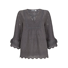 Buy Mint Velvet Broderie Tassel Top, Dark Grey Online at johnlewis.com