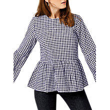 Buy Warehouse Gingham Tiered Top, Blue/White Online at johnlewis.com