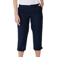 Buy Fat Face Linen Crop Trousers, Navy Online at johnlewis.com
