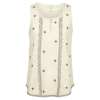 Fat Face Cassie Embroidered Cami, Natural