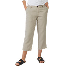 Buy Fat Face Linen Crop Trousers, Surf Mist Online at johnlewis.com