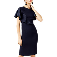 Buy Warehouse Satin and Crepe Dress, Navy Online at johnlewis.com