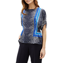 Buy Jaeger Scarf Print Silk Top, Navy/Multi Online at johnlewis.com