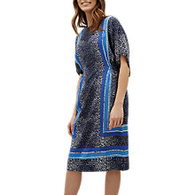 Buy Jaeger Silk Scarf Print Midi Dress, Navy/Multi Online at johnlewis.com