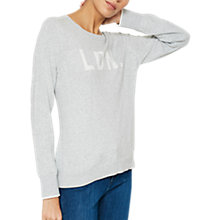 Buy Mint Velvet LDN Slogan Jumper, Light Grey Online at johnlewis.com