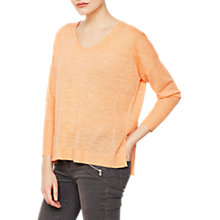 Buy Mint Velvet Side Split Boxy Knit Jumper, Sherbert Online at johnlewis.com