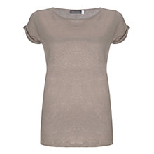 Buy Mint Velvet Knot Sleeve Shimmer Top, Light Pink Online at johnlewis.com