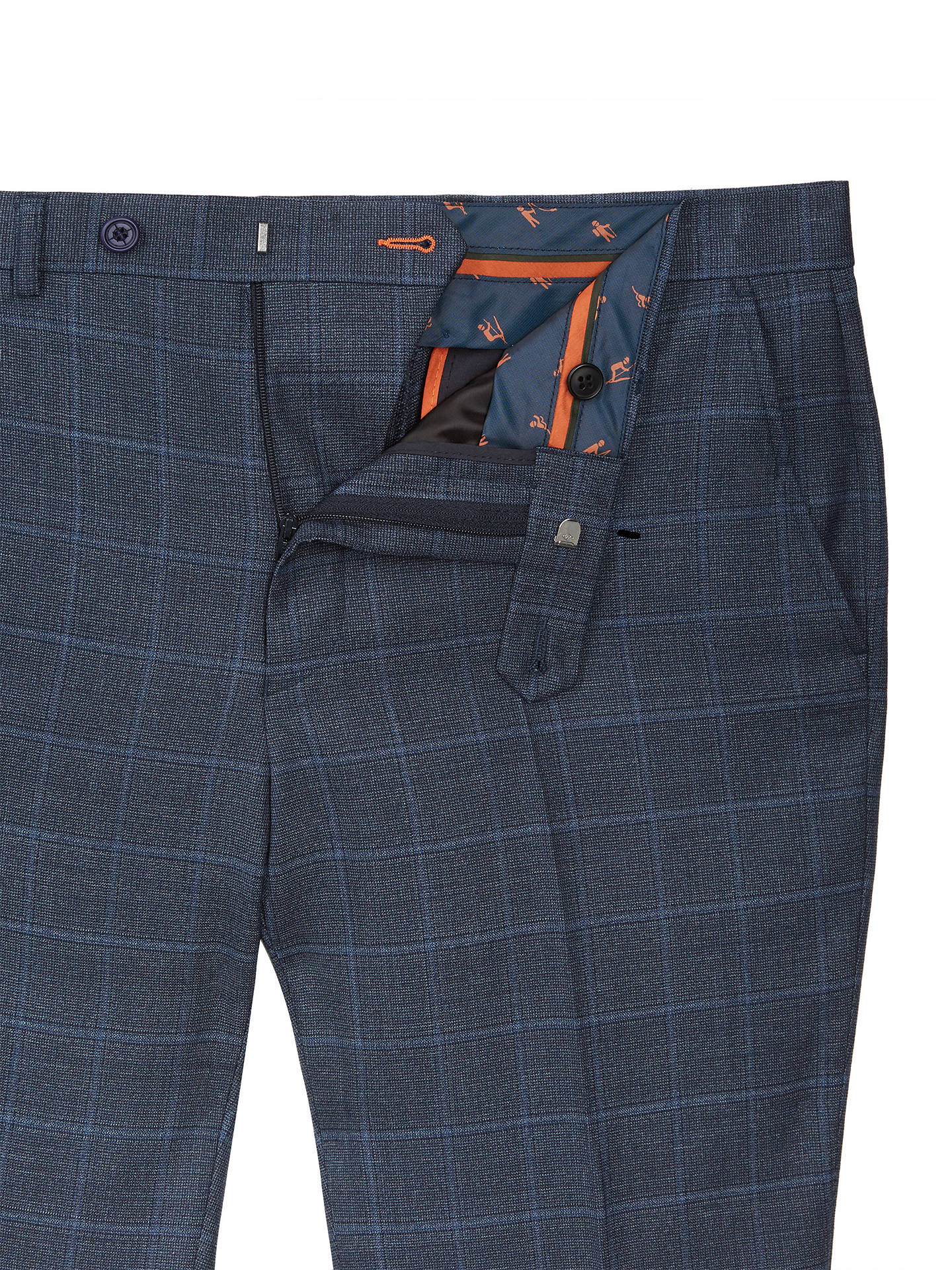 Buy Ted Baker Comfort Check Tailored Suit Trousers, Blue, 32S Online at johnlewis.com
