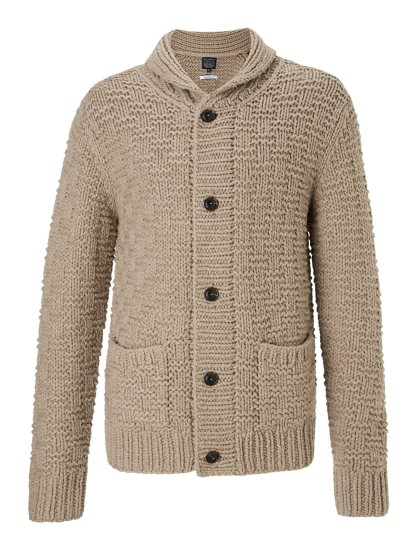 JOHN LEWIS & Co. Hand Knit Shawl Wool Cardigan, Oatmeal at