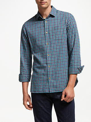 Buy John Lewis & Partners Brushed Gingham Shirt, Blue, XXL Online at johnlewis.com