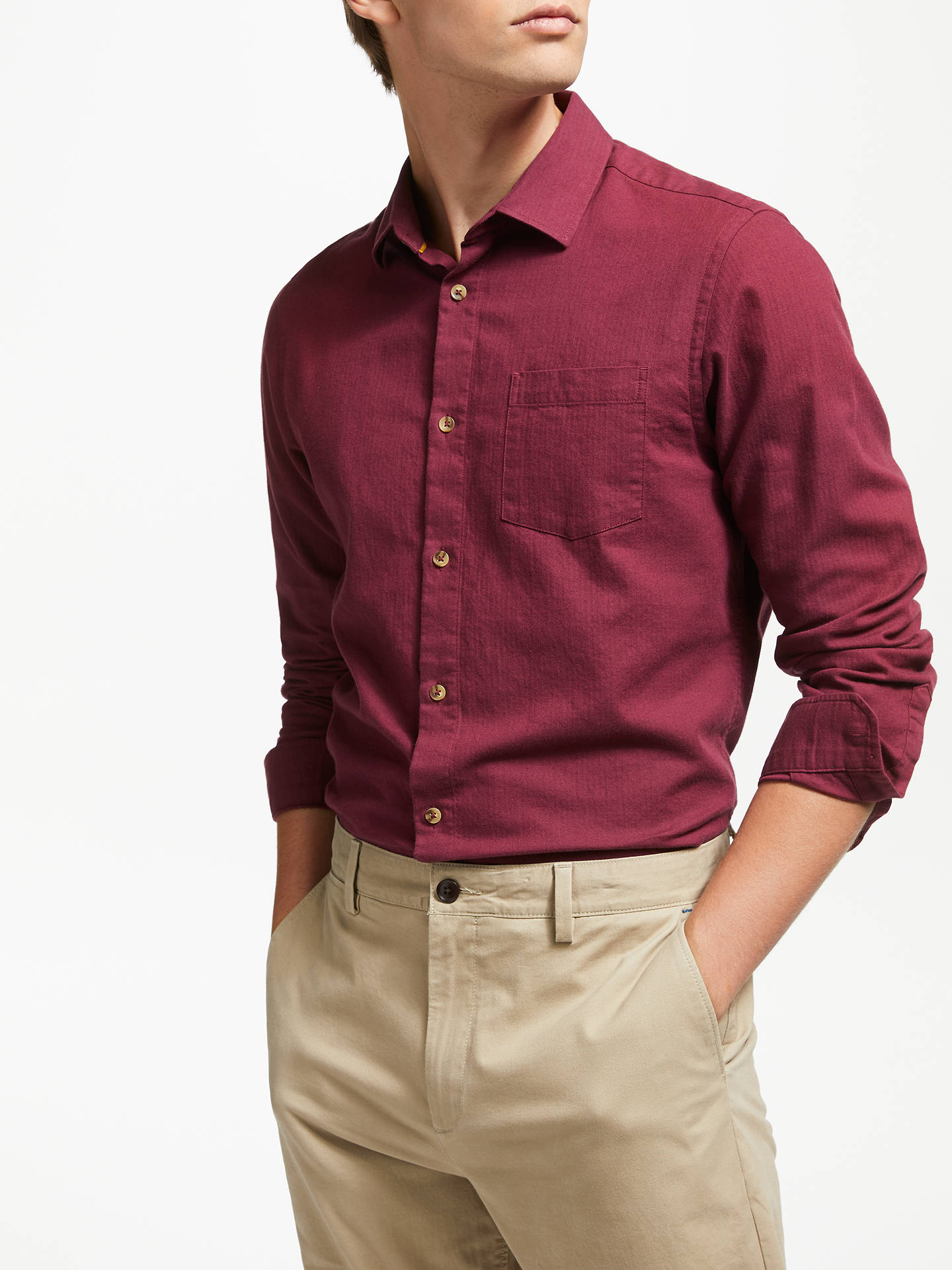 BuyJohn Lewis & Partners Elton Brushed Herringbone Shirt, Wine, S Online at johnlewis.com