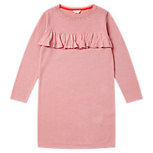 Buy Jigsaw Girls' Knitted Frill Front Dress, Blush Online at johnlewis.com