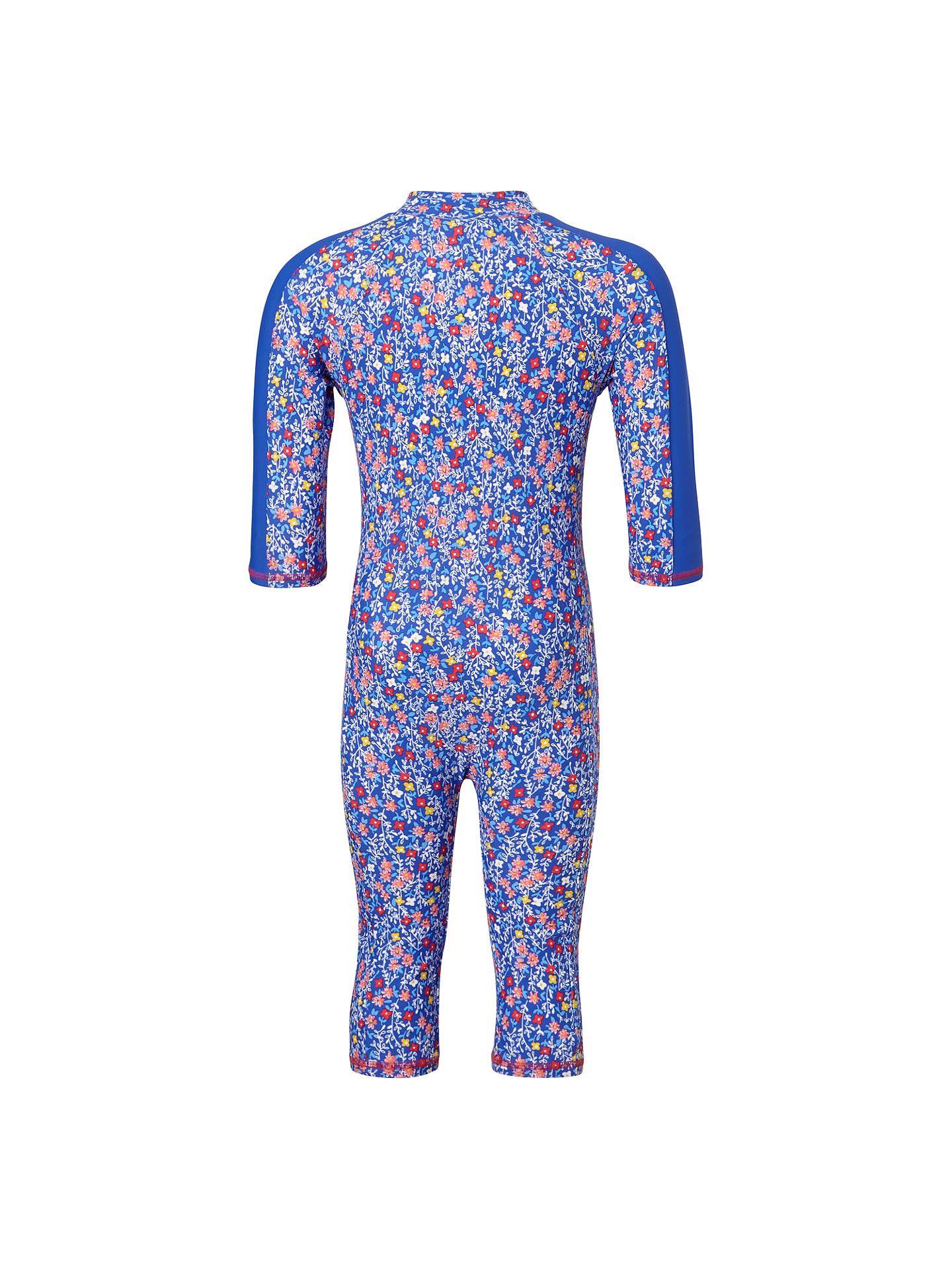 BuyJohn Lewis & Partners Girls' Micro Flower Print UV SunPro Suit, Blue, 6 years Online at johnlewis.com