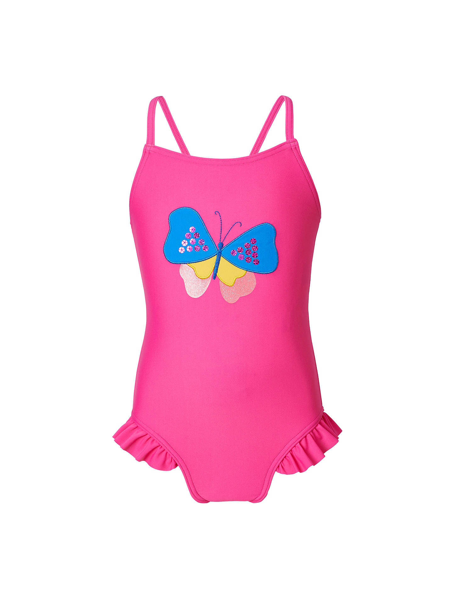Buy John Lewis & Partners Girls' Butterfly Applique Swimsuit, Pink, 6 years Online at johnlewis.com