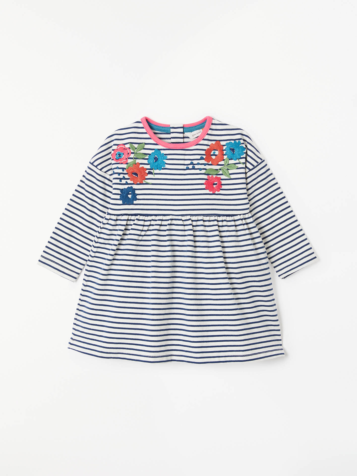 186721ab0 Buy John Lewis & Partners Baby Stripe Floral Embroidery Dress, Blue, 0-3 ...