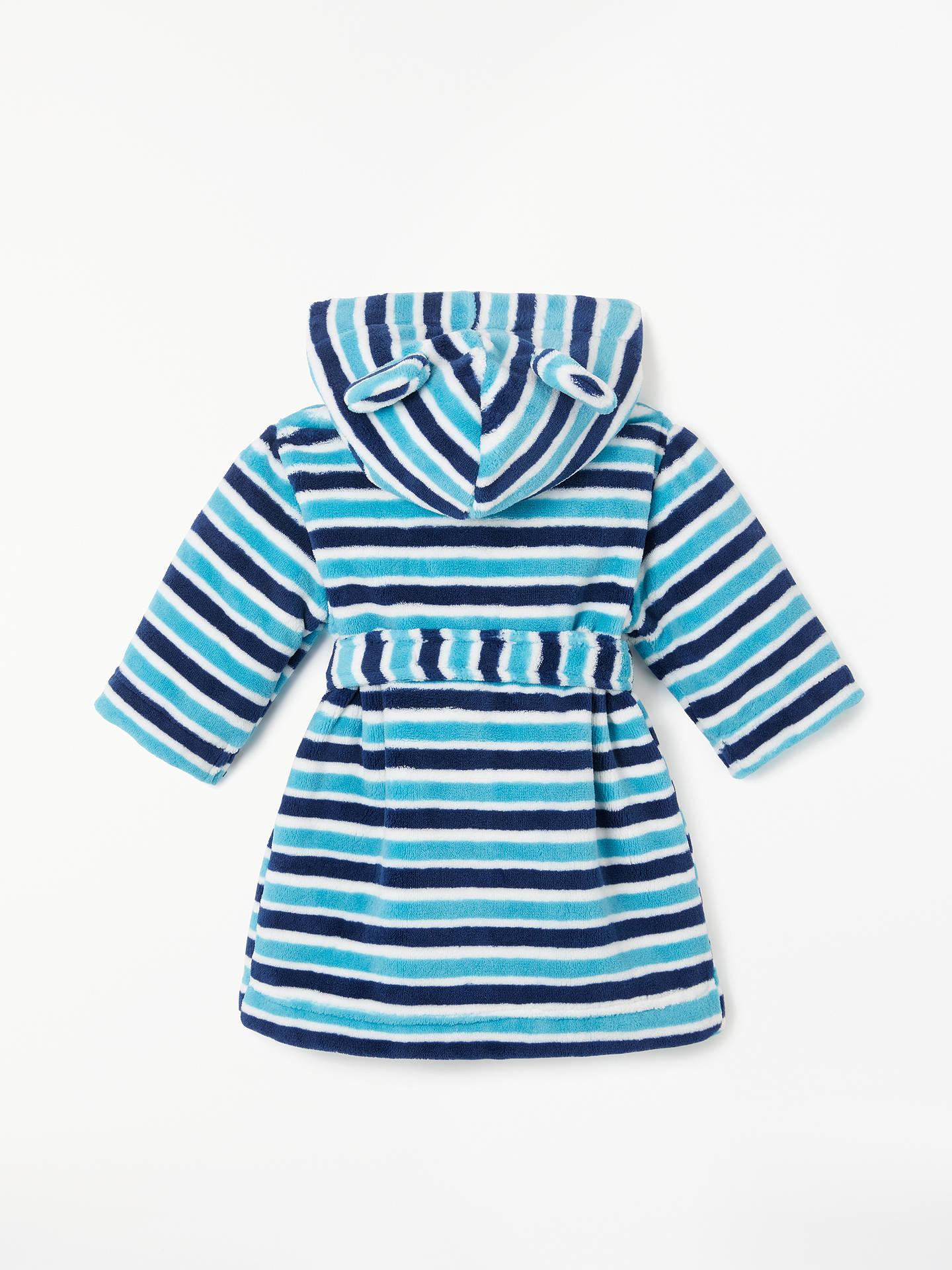 John Lewis Partners Baby Stripe Dressing Gown Blue At John Lewis