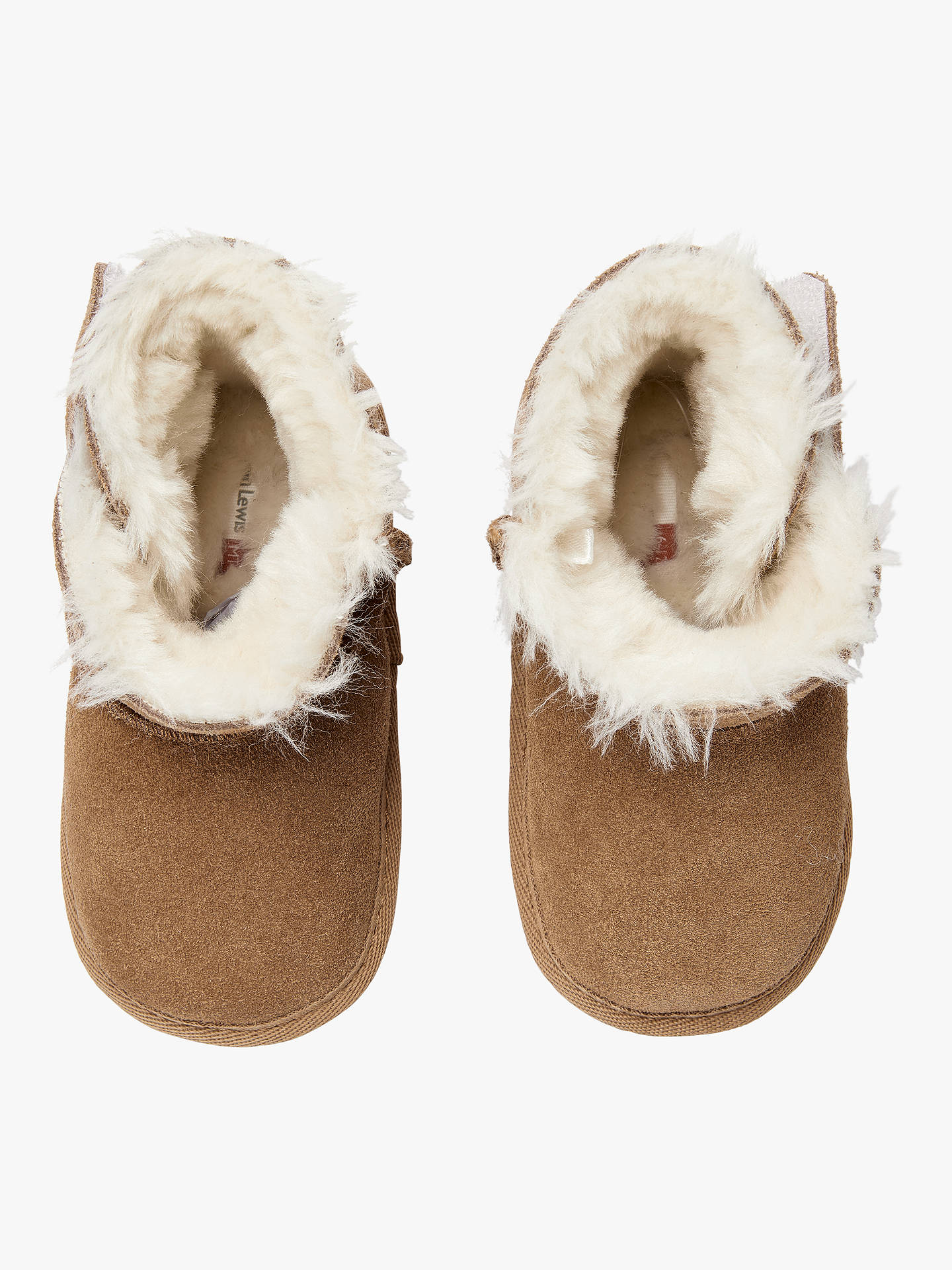 BuyJohn Lewis & Partners Baby Faux Sheepskin Booties, Chestnut, 0-3 months Online at johnlewis.com
