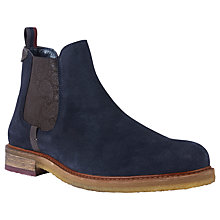 Buy Ted Baker Bronzo Paisley Detail Suede Chelsea Boots, Dark Blue Online at johnlewis.com