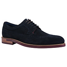 Buy Ted Baker Delanis Longwing Suede Brogues, Dark Blue Online at johnlewis.com