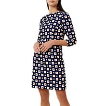 Buy Hobbs Lula Dress, Blue/Tangerine Online at johnlewis.com