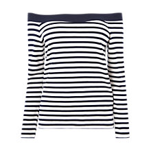 Buy L.K.Bennett Karolyn Bardot Jersey Top, Cream/Blue Online at johnlewis.com