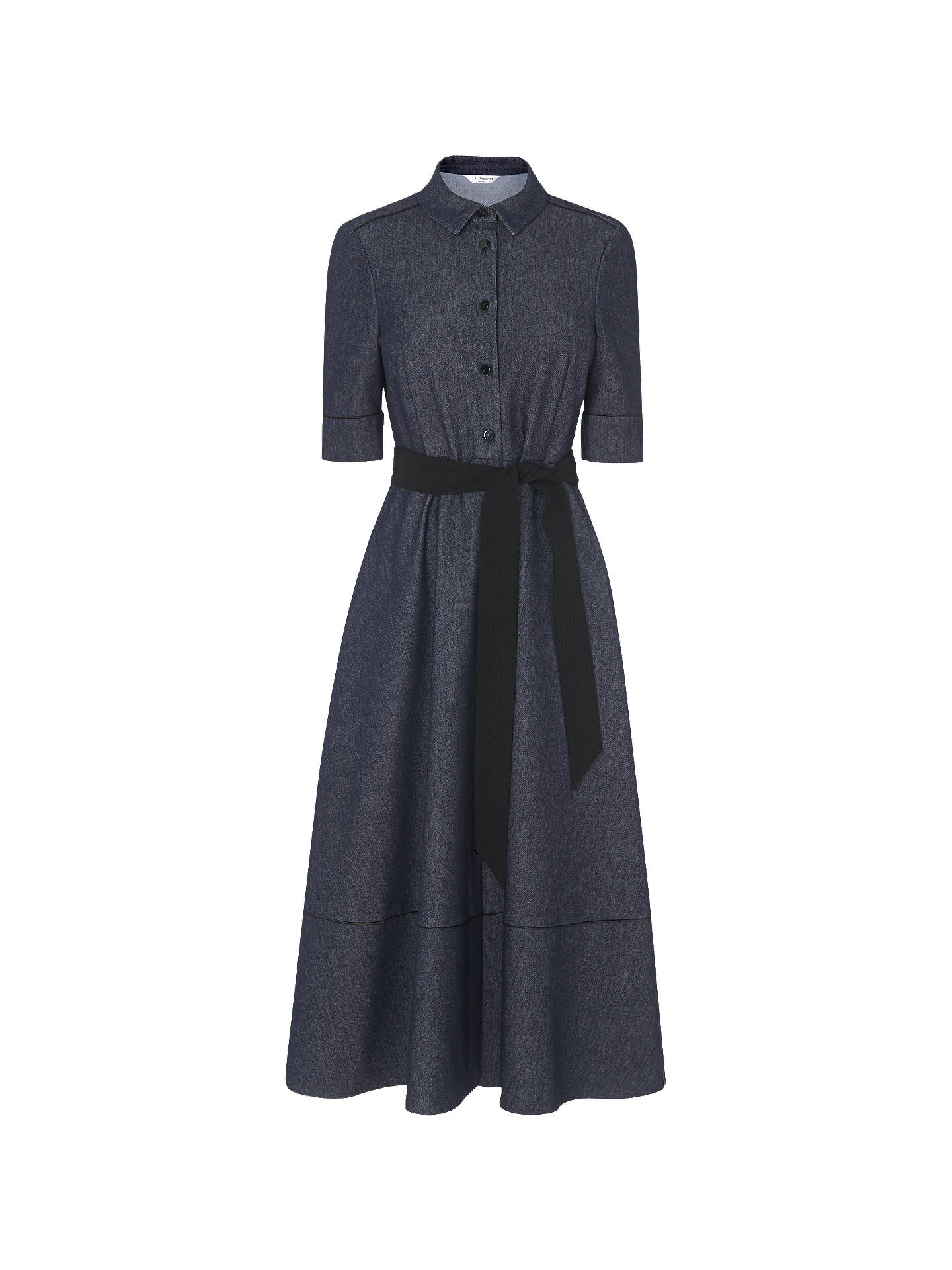 BuyL.K.Bennett Reene Cotton Mix Dress, Blue Denim, 6 Online at johnlewis.com