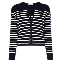 Buy L.K.Bennett Mia Striped Cropped Cardigan, Blue/White Online at johnlewis.com