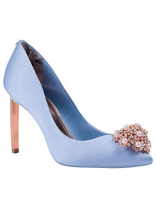 Buy Ted Baker Peetch 2 Embellished Stiletto Heel Court Shoes, Blue Satin, 4 Online at johnlewis.com
