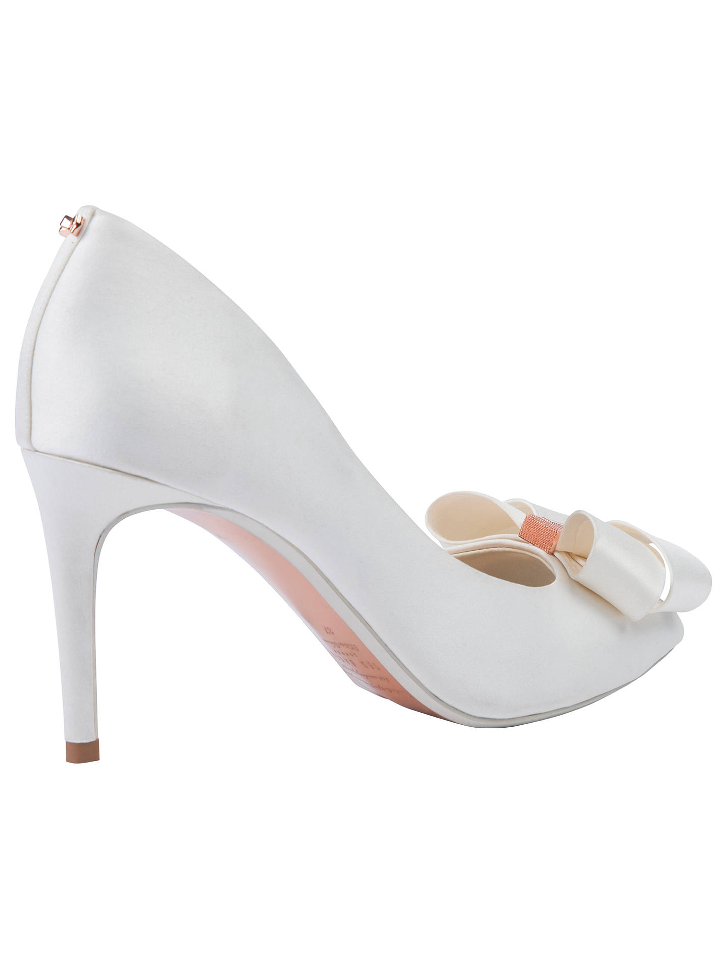 BuyTed Baker Vylett Bow Peep Toe Court Shoes, Ivory Satin, 4 Online at johnlewis.com