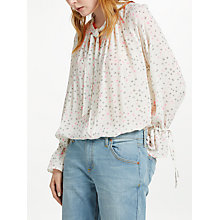 Buy Pyrus Anais Tie Neck Tiny Star Print Blouse, White/Pink Online at johnlewis.com