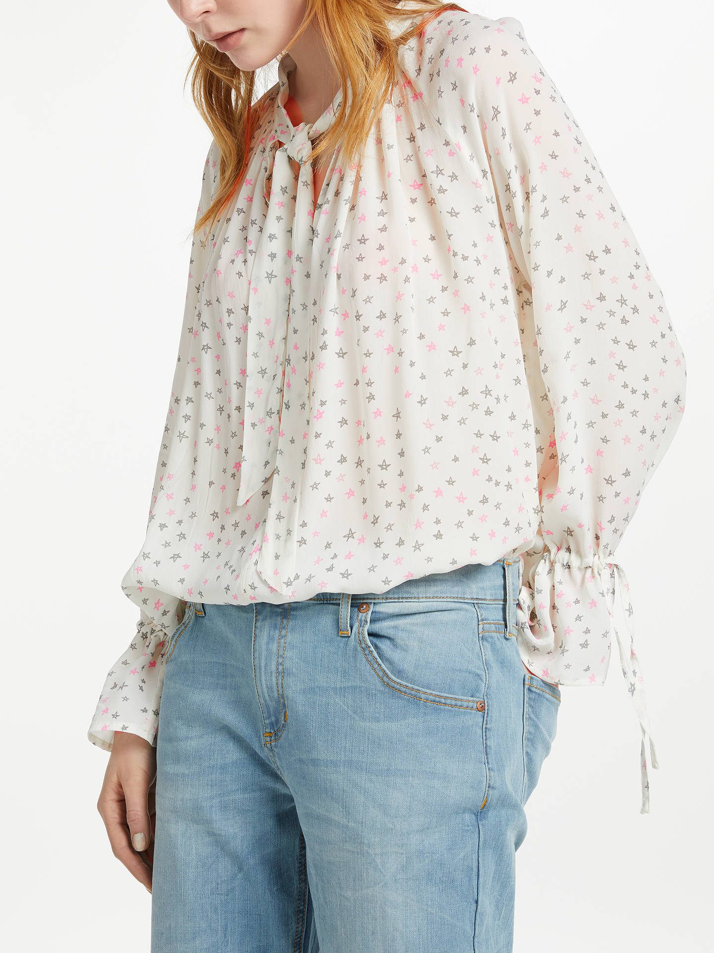 Buy Pyrus Anais Tie Neck Tiny Star Print Blouse, White/Pink, XS Online at johnlewis.com