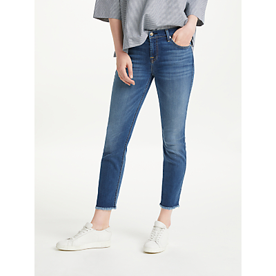 7 For All Mankind Roxanne Ankle Fray B(air) Slim Jeans, Vintage Dusk