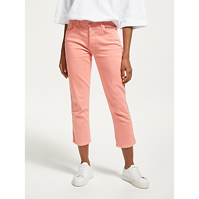 7 For All Mankind Edie High Waist Straight Jeans, Coral Crush