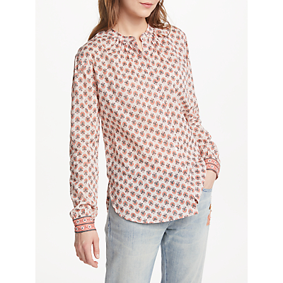 Maison Scotch Collarless Print Shirt, Multi