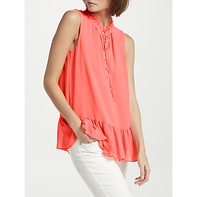 Marc Cain Frill Neck Sleeveless Top, Coral