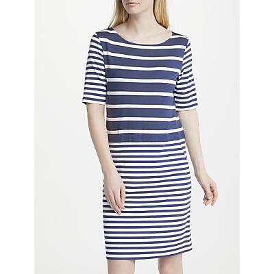 Gerry Weber Half Sleeve Stripe Jersey Dress, Blue/White