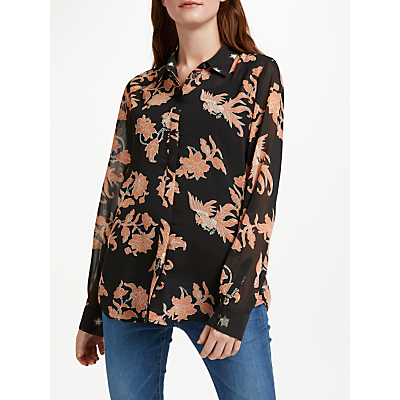 Maison Scotch Long Sleeve Floral Print Shirt, Multi
