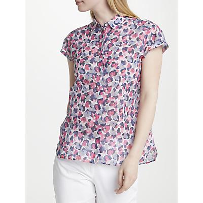Gerry Weber Cap Sleeve Printed Shirt, White/Shadow Melon