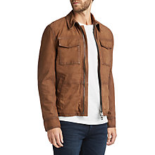 Buy BOSS Jaggers Slim Fit Leather Jacket, Medium Brown Online at johnlewis.com