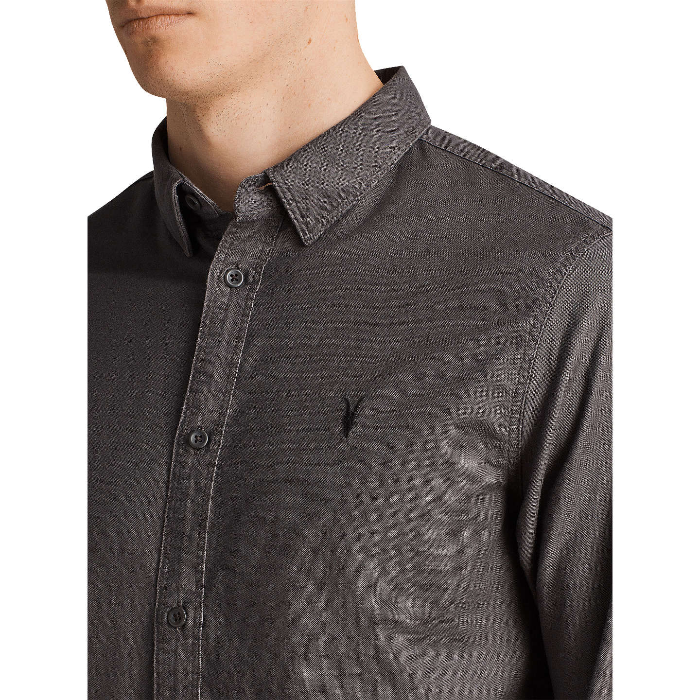 BuyAllSaints Hungtingdon Slim Fit Shirt, Heath Grey, XS Online at johnlewis.com