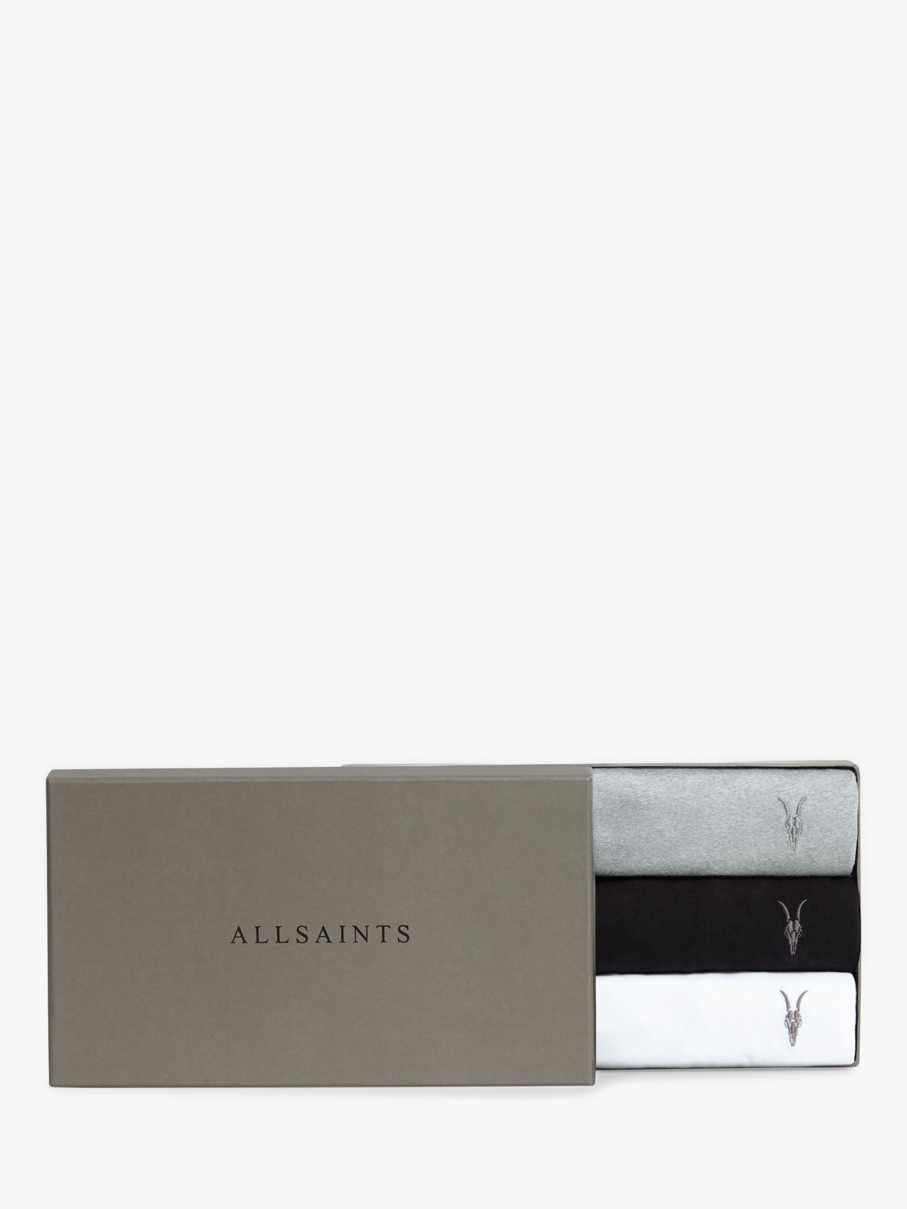 AllSaints AllSaints Tonic Crew Neck T-Shirt, Pack of 3, White/Black/Grey