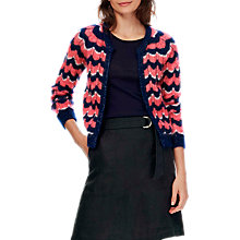 Buy Brora Mohair Wave Knit Cardigan, Ink/Coral Online at johnlewis.com