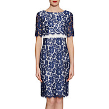 Buy Gina Bacconi Cleopatra Scallop Flower Lace Dress, Navy Online at johnlewis.com