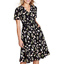 Buy Yumi Flower Print Lace Tie Dress, Black Online at johnlewis.com