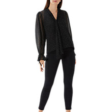 Buy Coast Elaine Pussybow Blouse, Black Online at johnlewis.com