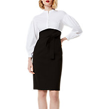 Buy Karen Millen Layered Corset Shirt Dress, Black/White Online at johnlewis.com