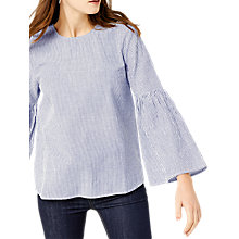 Buy Warehouse Textured Stripe Flute Cuff Top, Blue/White Online at johnlewis.com