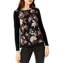 Buy Warehouse Molly Floral Top, Black/Multi Online at johnlewis.com